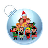 Sweet carolers on a bauble. Christmas theme - multicultural carolers on glass bauble Royalty Free Stock Image