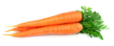 Sweet carrots with leafs Stock Photos