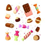 Sweet cartoon candy set. Collection of sweets, cartoon style. Jelly, candy, cakes, sweet donut and marmelade. Huge set vector illustration