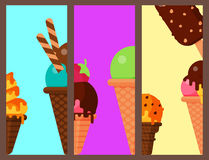Sweet cartoon cold ice cream cards set tasty frozen icecream collection vector delicious colorful desserts Royalty Free Stock Images