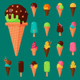 Sweet cartoon cold ice cream set and tasty frozen icecream collection vector delicious colorful desserts. Chocolate and milk party wafer dairy product sugar Royalty Free Stock Photos