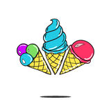 Sweet cartoon cold ice cream. tasty frozen icecream vector delicious Royalty Free Stock Images