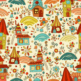 Sweet cartoon homes seamless pattern. Sweet cartoon Fairyland seamless pattern. Amusing and lively endless pattern can be used for wallpaper design, web pags Stock Images