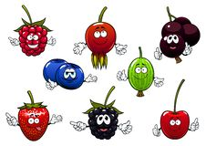 Sweet cartoon isolated berries characters Stock Photos