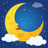 Sweet Cartoon Moon Sleeping in the Sky Stock Photography