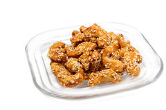 Sweet cashew nuts and sesame ,thai dessert Stock Images