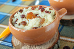 Sweet casserole of raisins and rice Stock Images