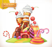 Sweet castle. Gingerbread house. 3d vector icon. Sweet castle. Gingerbread house. Cake, cupcake, candy. 3d vector icon Royalty Free Stock Photos