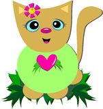 Sweet Cat with a Big Heart Royalty Free Stock Images