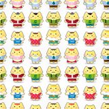 Sweet cat family seamless pattern Stock Photography