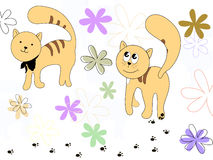 Sweet cats. Vector illustration of two cats Stock Photography