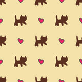 Sweet cats and hearts seamless pattern Stock Photos
