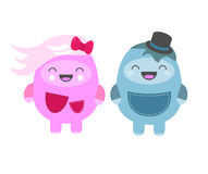 Sweet Characters. Happy little monsters (girl and boy Stock Image