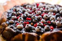 Sweet cheese cake with licorice and fruits Stock Images