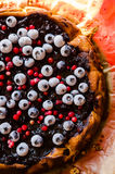 Sweet cheese cake with licorice and fruits Stock Photo