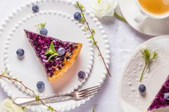 Sweet Cheese cakes with berries, mint and whipped cream. Top view. royalty free stock photo