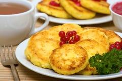 Sweet cheese pancakes Stock Photos