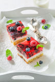 Sweet cheesecake with fresh blueberries and raspberries Royalty Free Stock Image