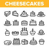 Sweet Cheesecakes, Bakery Linear Vector Icons Set stock illustration