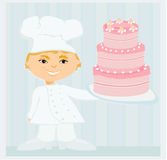 Sweet chef with cake Stock Photo