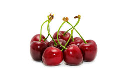 Sweet cherries. Isolated on a white background Stock Photos