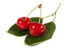 Sweet cherries. Isolated on a white royalty free stock images