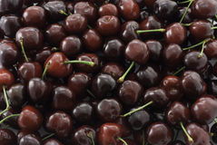 Sweet cherries background. Sweet red wet cherries background Stock Photos
