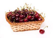 Sweet cherries in basket Stock Photography