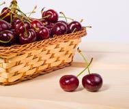 Sweet cherries in basket Royalty Free Stock Photos