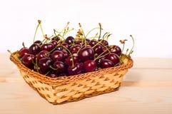 Sweet cherries in basket Stock Image