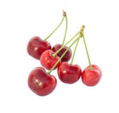 Sweet cherries close-up. Isolated on a white background Royalty Free Stock Photos