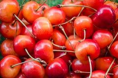 Sweet cherries closeup background Stock Photo
