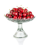 Sweet cherries in glass bowl