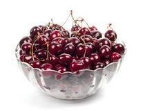 Sweet cherries in glass plate Royalty Free Stock Photos