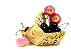 Sweet cherries and straw flower Royalty Free Stock Photo