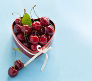 Sweet Cherries for Valentine's Day. stock images