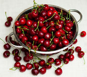 Sweet cherries with water drops in the kitchen Royalty Free Stock Photography