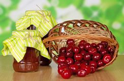 Sweet cherries which dropped out of basket Stock Photos
