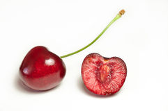 Sweet cherries. On white Stock Images