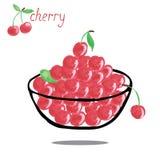 Sweet cherries,  on white background. Bowl full of cherries  on white background. Watercolor hand drawing vector illustration Stock Image