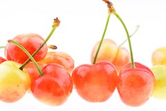 Sweet cherries  on a white background Stock Image