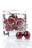Sweet Cherry And Mineral Water Stock Photo