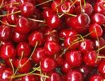 Sweet cherry background. Background from sweet fresh wet red cherries Stock Photography