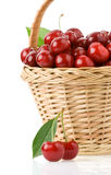 Sweet cherry in basket on white Stock Image