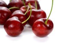 Sweet cherry berries on white background. Sweet red cherry berries on white background stock photo