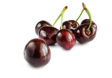 Sweet cherry berries on a white hum noise. Royalty Free Stock Photos