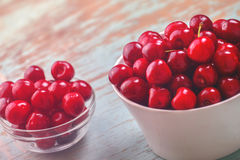 Sweet Cherry Bowl on Rustic Table Stock Photo