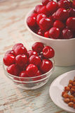 Sweet Cherry Bowl on Rustic Table Royalty Free Stock Photography