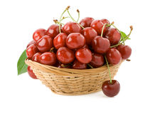 Sweet cherry in bowl on white Stock Photo