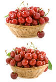 Sweet cherry in bowl on white Royalty Free Stock Images